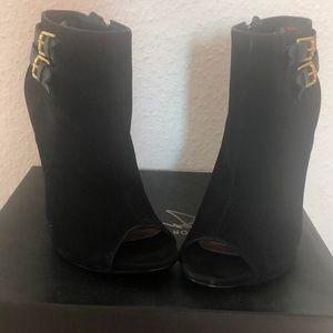 Steve Madden Shoes - Black Suede Steve Madden Peep Toe Booties